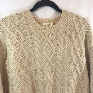 *J CREW* Fisherman Wool Cable Knit Sweater - M